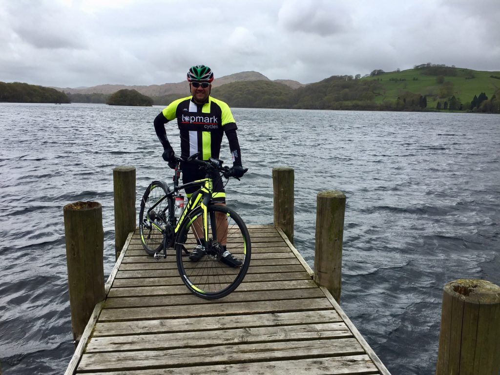 Giant Fastroad on jetty on Coniston Water